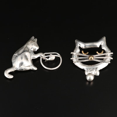 Mexican Sterling Silver Cat Theme Brooches