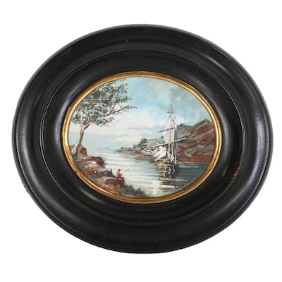 Miniature French Nautical Oil Painting, 1880