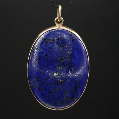 14K Lapis Lazuli Oval Pendant