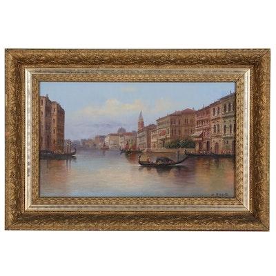 Oil Painting Venetian Landscape with Gondolas, Mid Century