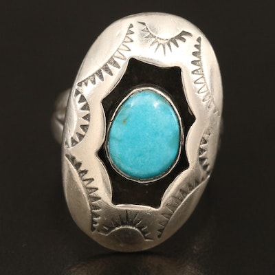 Signed Western Sterling Turquoise Ring