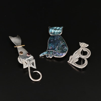 Mexican Sterling Silver Cat Brooches Featuring Abalone