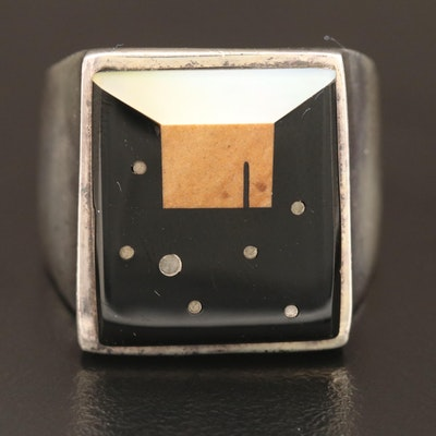 A Touch of Santa Fey Sterling Mother of Pearl and Jasper Inlay Ring