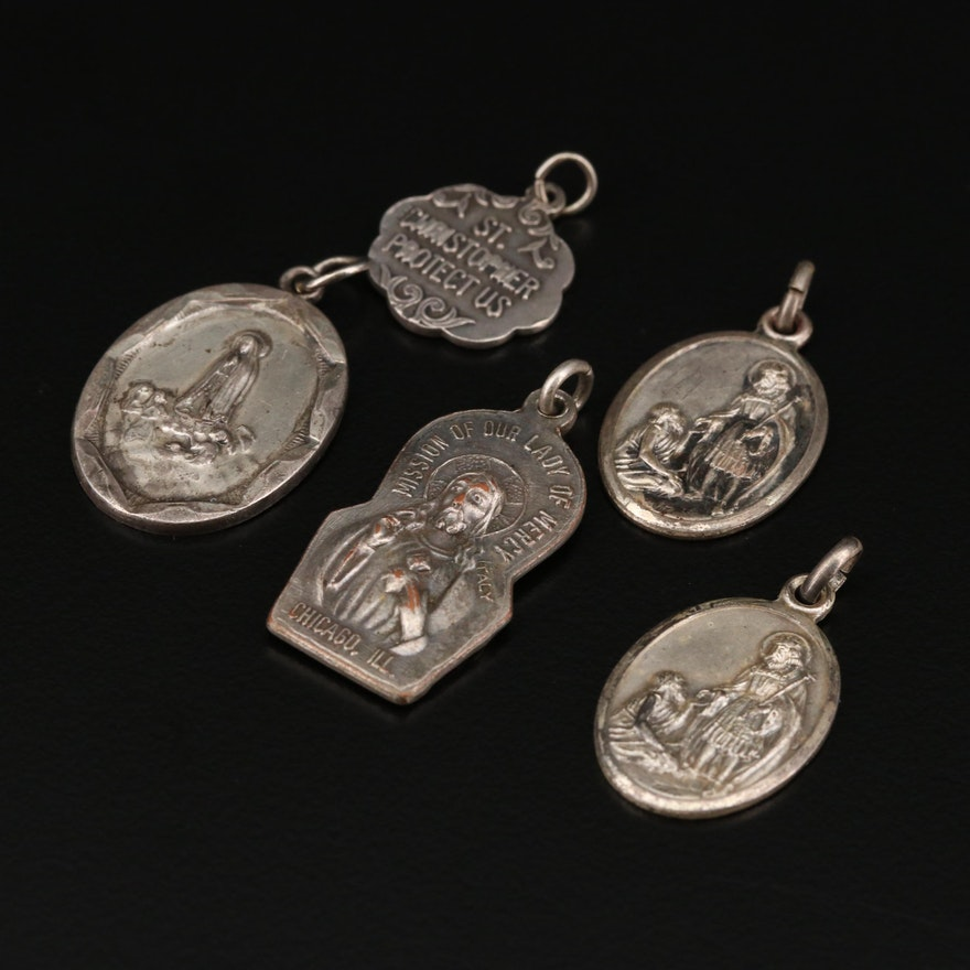 Sterling Silver Religious Pendants Including St. Edward and St. Christopher