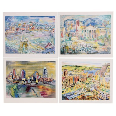 Beverly Erschell Impressionist Style Cityscape Offset Lithographs