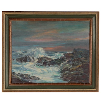 Mildred Nordman Seaside Oil Painting, Mid-Late 20th Century