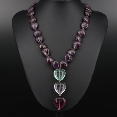 Amethyst and Fluorite Heart Shaped Necklace