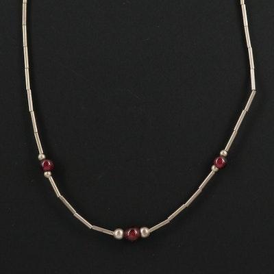 Sterling Silver Rhodolite Garnet Station Necklace