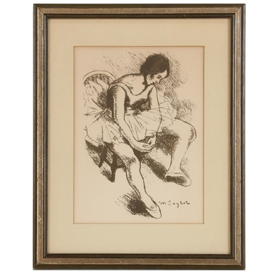 "Figural Lithograph after Moses Soyer ""Ballerina"""