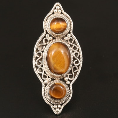 Sterling Silver Tiger's Eye Pointer Ring