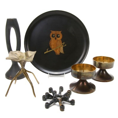 Couroc Brass Inlay Owl Plate and Metal Candle Holders