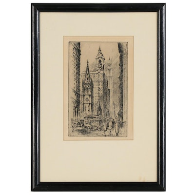 """Cityscape Etching """"Lower Broadway, N.Y."""""""