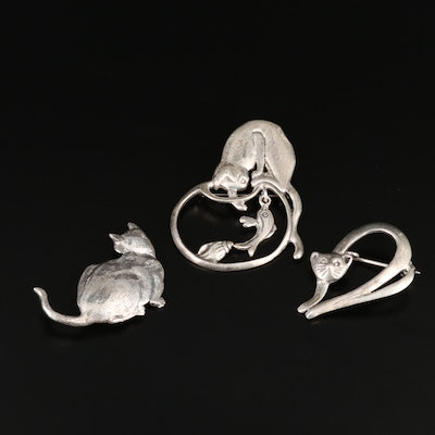 Vintage Sterling Silver Feline Brooches Featuring Museum of Fine Arts