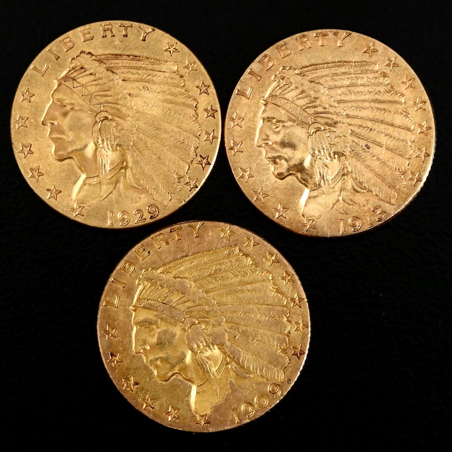 Three Indian Head Quarter Eagle $2.50 Gold Coins