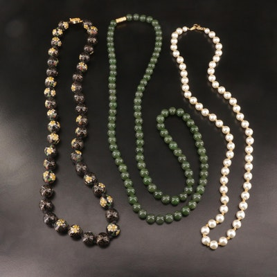 Beaded Necklaces Featuring Nephrite and Cloisonné Beads