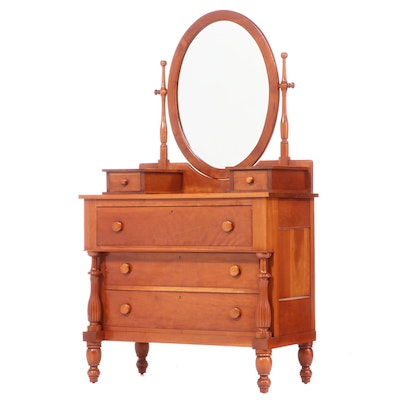 American Empire Style Cherrywood Dresser, 20th Century