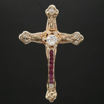 14K Gold Diamond and Ruby Crucifix Pendant
