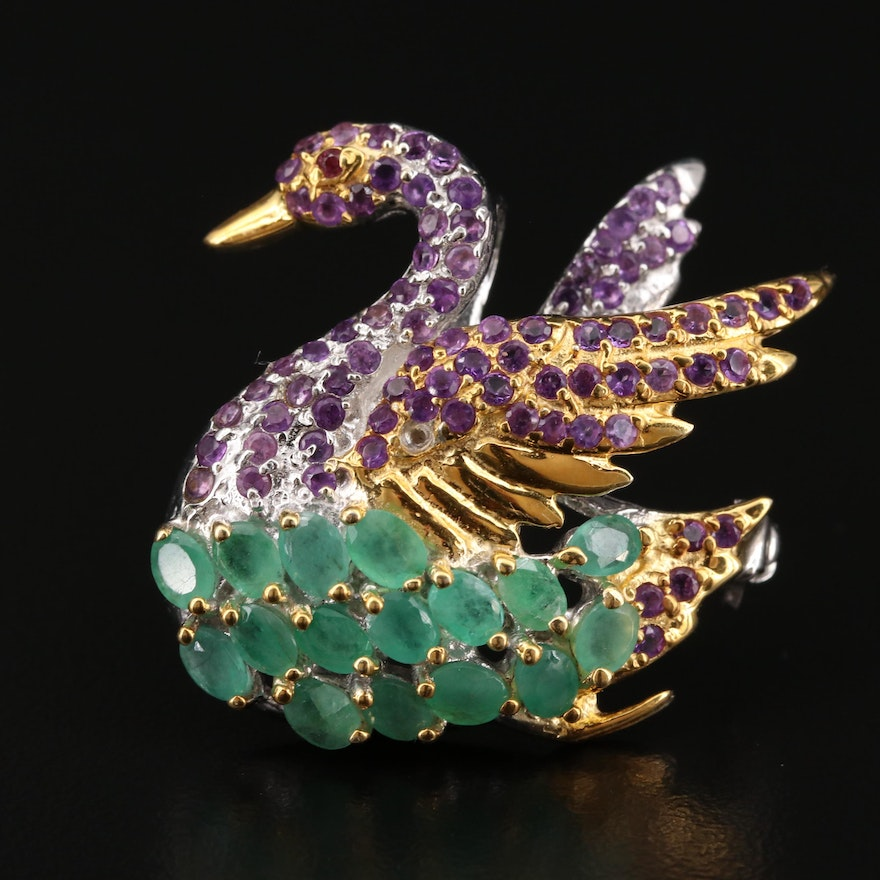Sterling Silver Emerald, Amethyst and Garnet Swan Converter Brooch