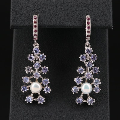 Sterling Silver Tanzanite, Garnet and Pearl Dangle Earrings