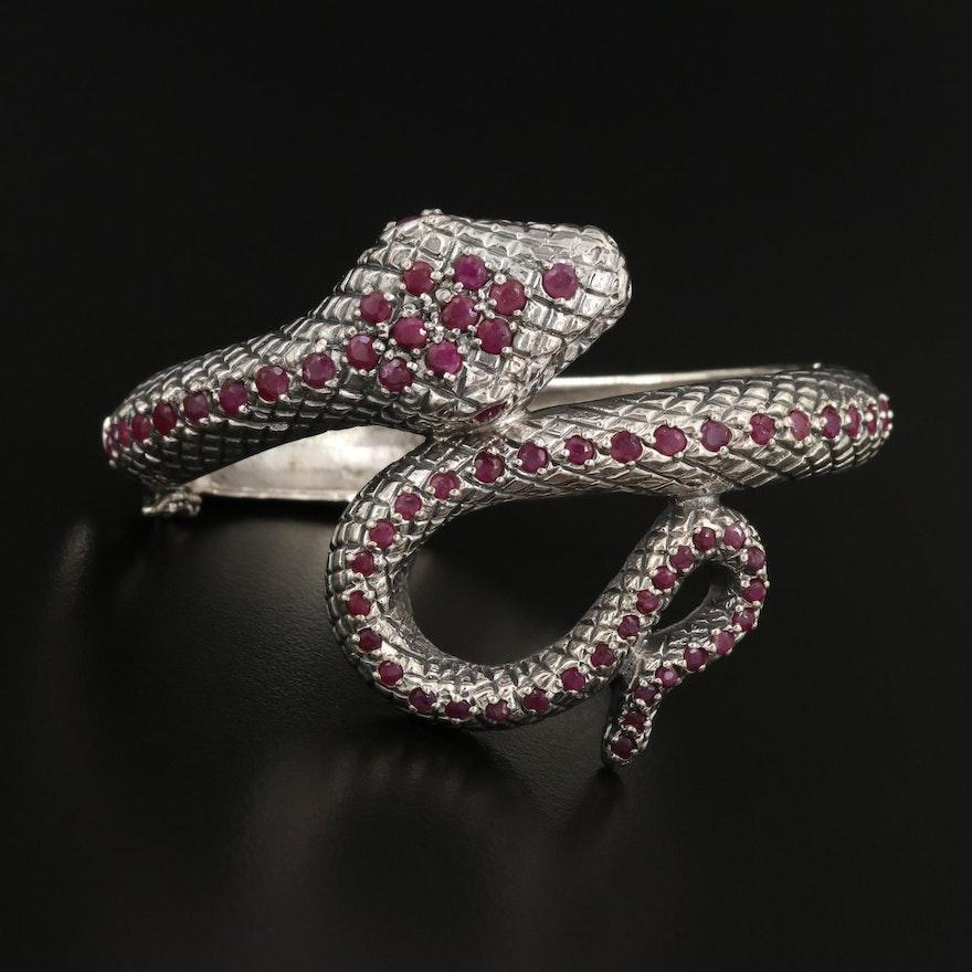 Sterling Silver Ruby Snake Bracelet