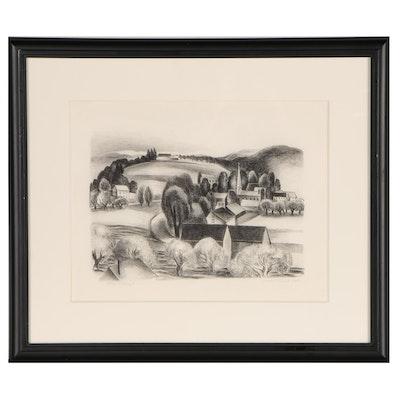 """Ernest Fiene Lithograph """"Village"""", 1927"""