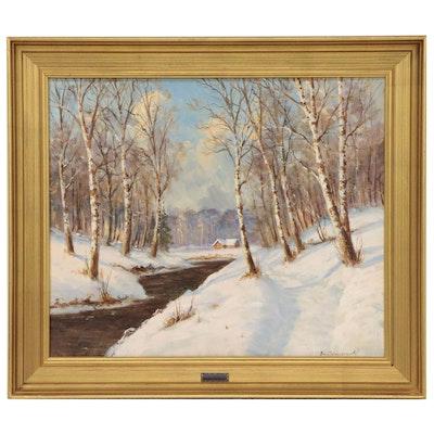 Finn Wennerwald Winter Landscape Oil Painting