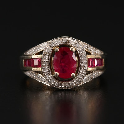 Sterling Silver Lab Grown Ruby and Diamond Ring