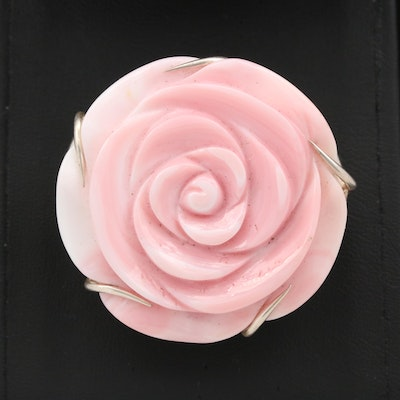 Sterling Shell Floral Brooch with Removable Necklace Converter