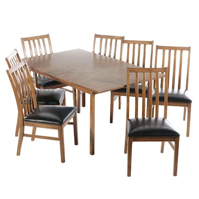 Stanley Grained Pecan Laminate Dining Set with Leaf Insert, Mid-20th Century