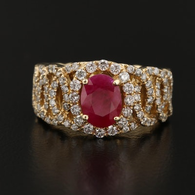 14K Ruby and Diamond Ring with Interlocking Circle Motif