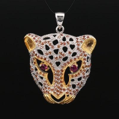 Sterling Silver Rhodolite Garnet and Sapphire Feline Pendant