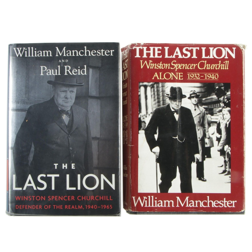 """First Editions """"The Last Lion: Alone"""" and """"Defender of the Realm"""" by Manchester"""
