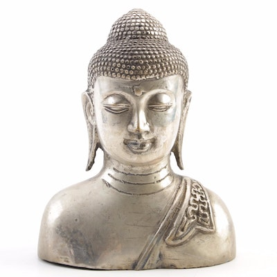 Metal Buddha Bust Figurine, Mid to Late 20th Century