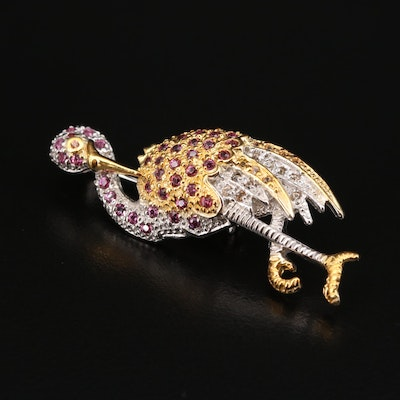 Sterling Silver Rhodolite Garnet and Sapphire Flamingo Brooch