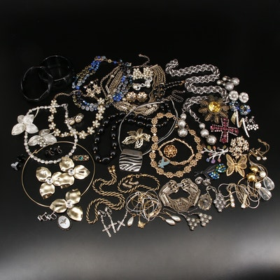 Collection of Sterling Jewelry Featuring Crown Trifari and Military Locket