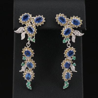 Sterling Silver Kyanite, Emerald and Sapphire Dangle Earrings