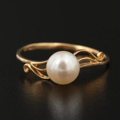 14K Pearl Scroll Design Ring