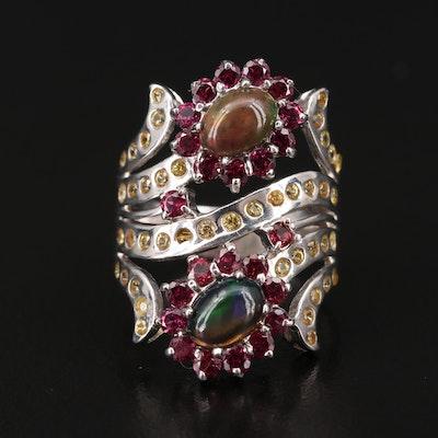 Sterling Silver Opal, Rhodolite Garnet and Sapphire Ring