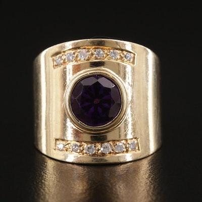 14K Yellow Gold Bezel Set Amethyst and Diamond Ring