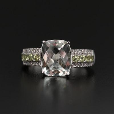 Sterling Silver Prasiolite, Peridot and Diamond Ring