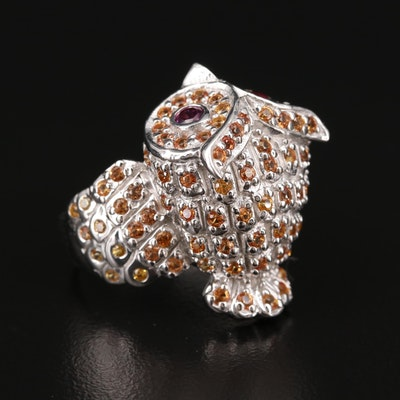 Sterling Silver Rhodolite Garnet and Sapphire Owl Ring