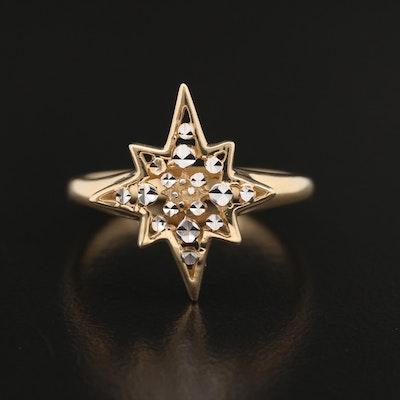 14K Gold Starburst Diamond Cut Ring