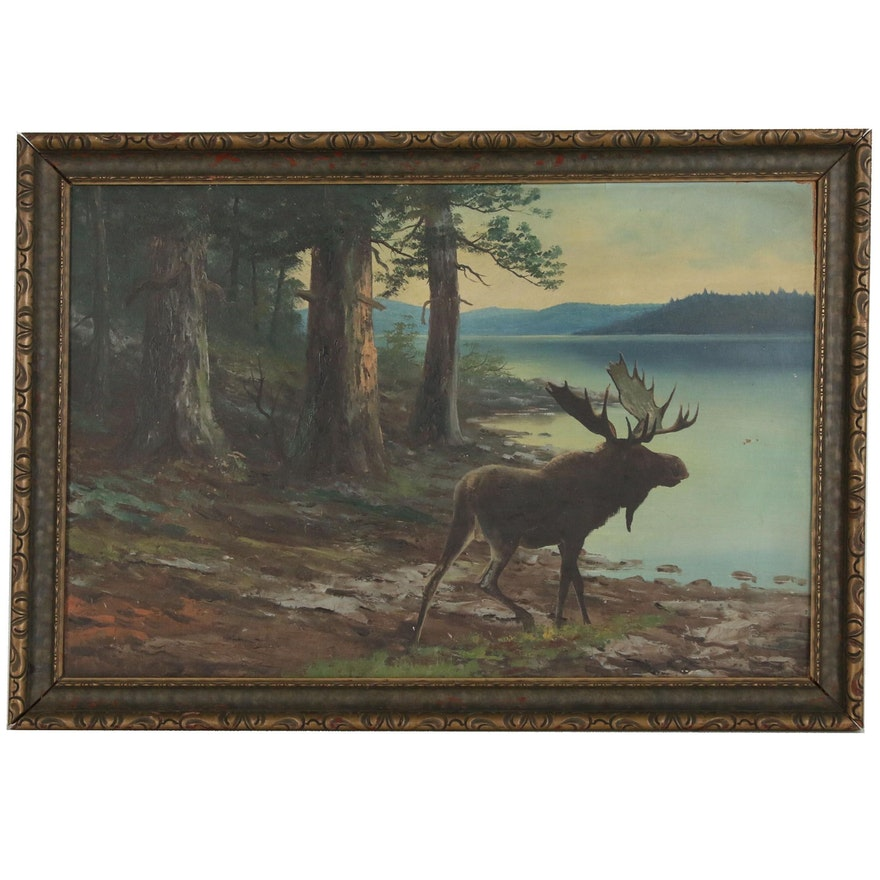 Landscape Oil Painting of Lake Scene with Moose