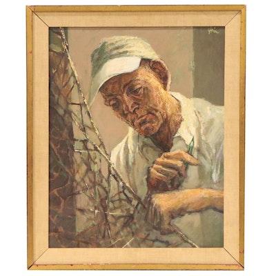 Martin Jack Zipin Portrait Oil Painting of Man Repairing Net