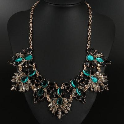 Rhinestone Fancy Bib Necklace