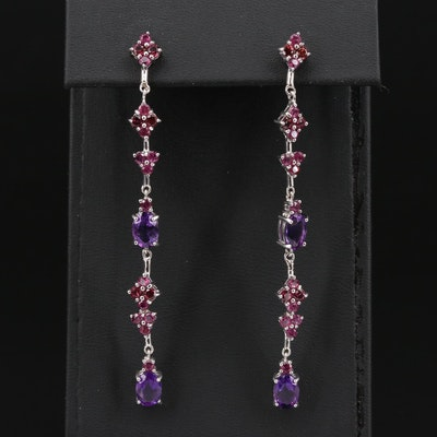 Sterling Silver Amethyst and Garnet Dangle Earrings