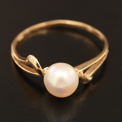 14K Gold Pearl Bypass Ring