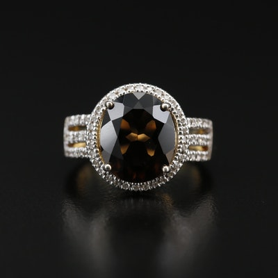 Sterling Silver Smoky Quartz and Diamond Ring