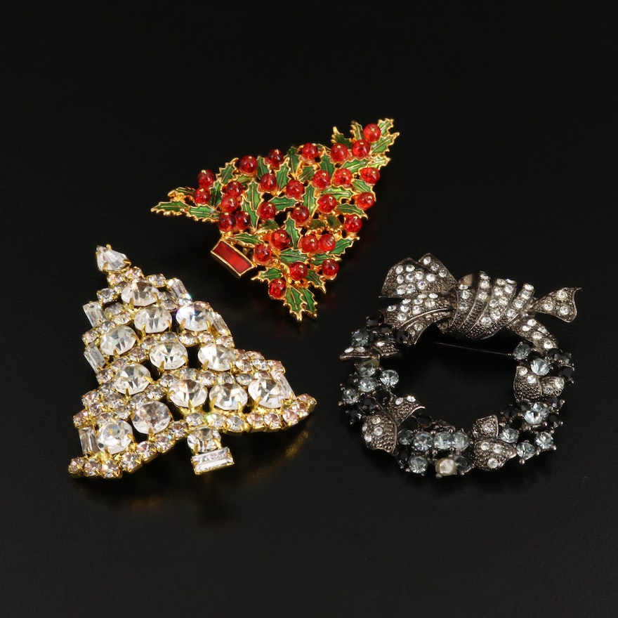 Rhinestone and Glass Brooches Including Metropolitan Museum of Art Brooch