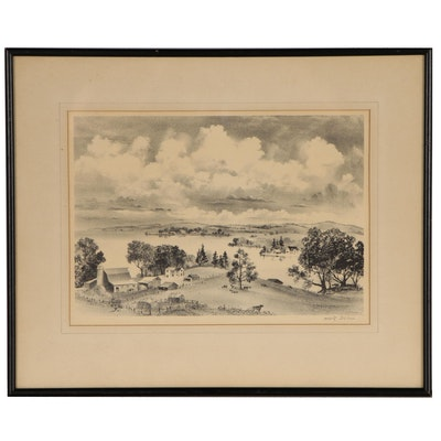 "Adolf Dehn Lithograph ""Lake Country"""